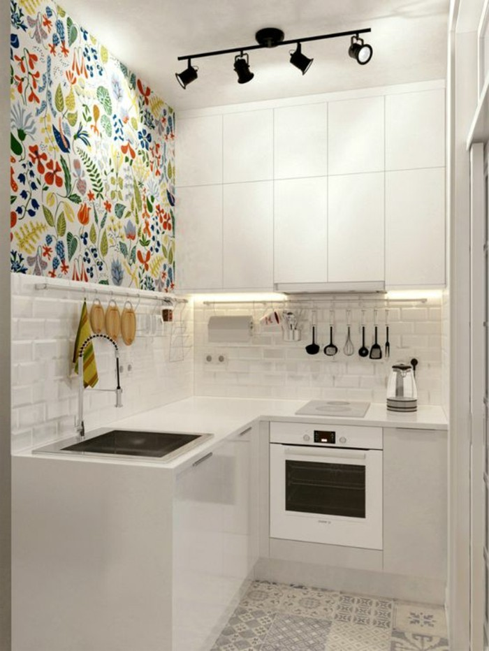 vibrant floral wallpaper, with folk-inspired motives, covering half of a wall, inside small kitchenette, small apartment ideas, white and pale gray color scheme