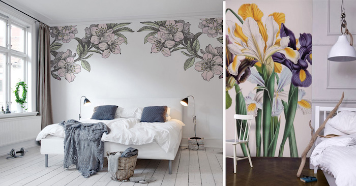 floral murals of cherry blossoms in pale pink and green, and flowers in bright yellow and purple, inside two different rooms, bedroom decorating ideas, white furniture and wooden floors