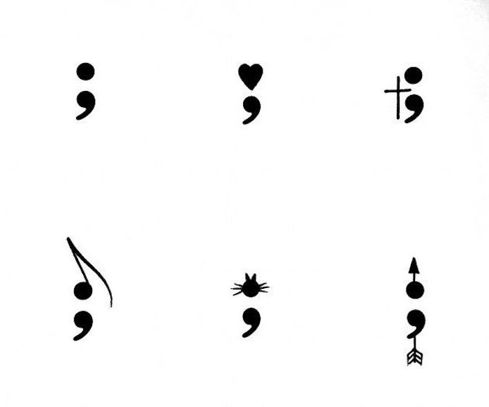 white sheet with six semicolon tattoo designs, dot and heart, cross and musical note, cat and arrow, minimalistic and original ideas