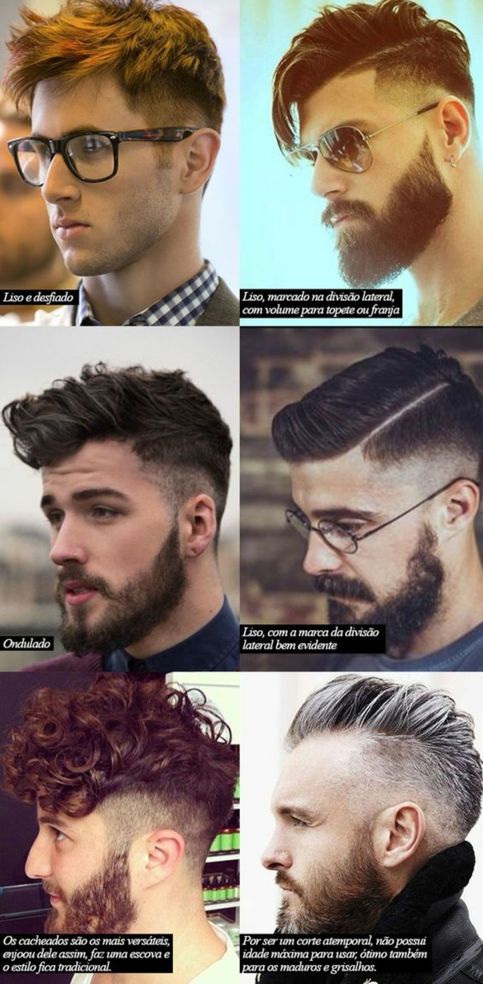 six different styles of short curly hair, men with beards and glasses, faux hawks and undercuts, brunette and auburn hair, one man has short hair dyed in silver