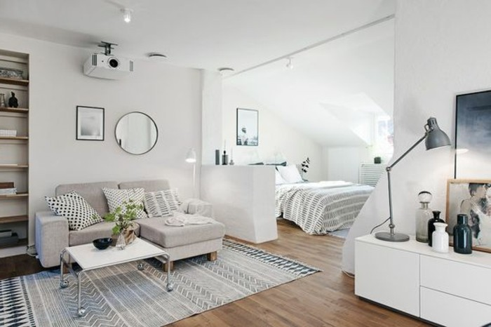 laminate floor inside big room, studio apartment ideas, white walls and a faded rug, bed and sofa, mirror and artworks