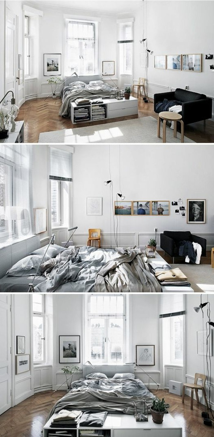 different views of a small flat, three windows and white walls, retro laminate floor, gray bed and black settee, studio apartment decorating ideas, collage of three images