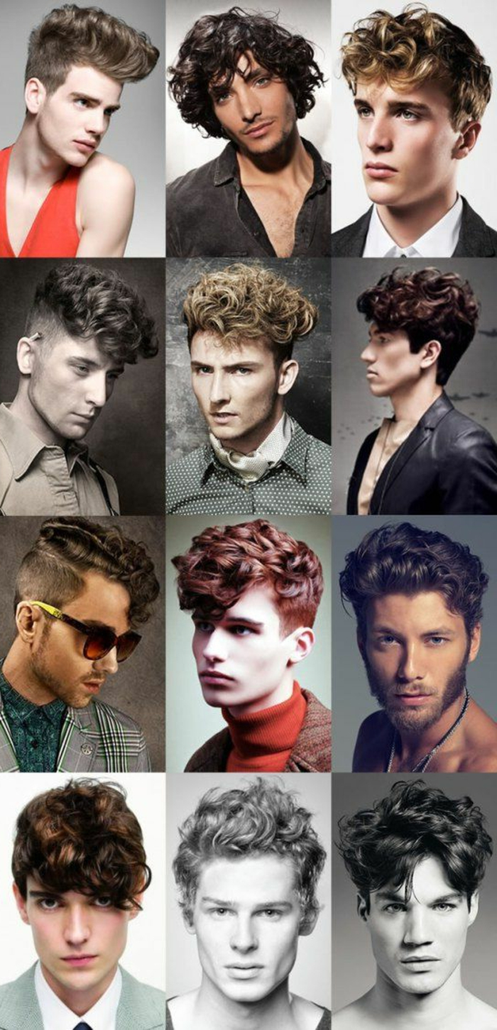 twelve suggestions for hairstyles for short curly hair, brunette red-haired and blond men, quiffs and faux hawks, medium length and short hair