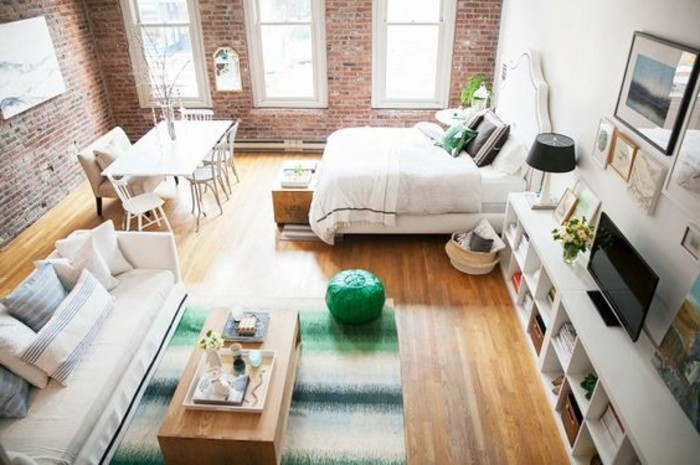dining table and bed, sofa and wooden coffee table, shelves and framed artworks,studio apartment ideas, inside room with two brick walls
