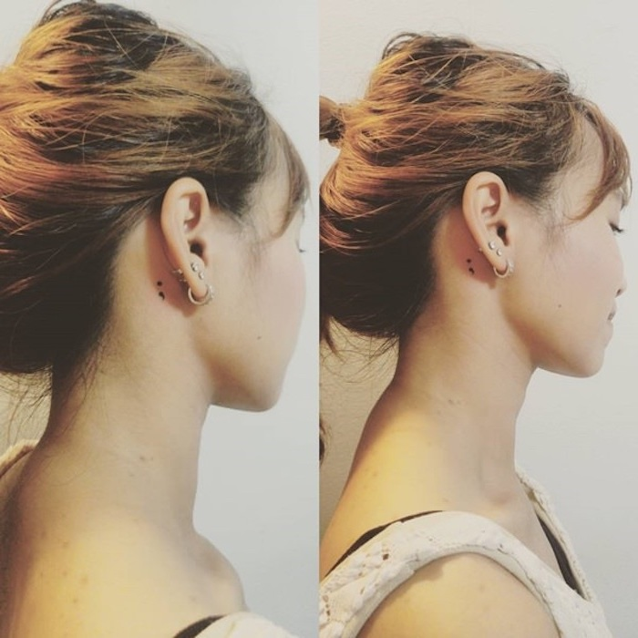 brunette woman with tied hair, looking to one side, with a small black semicolon project tattoo, behind her ear, seen from two angles