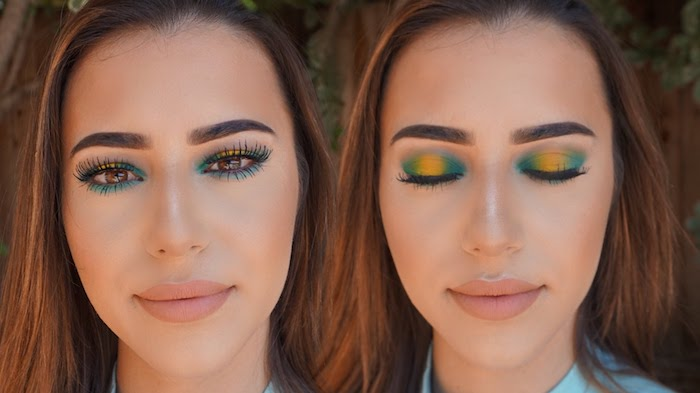 fake lashes and eyeshadow in green and yellow, worn by young girl with large lips, and nude beige pink matte lipstick