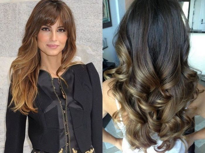 princess curls on dark hair with blonde highlights, silky smooth and long, image next to it shows smiling woman, with honey blonde balayage, on chocolate brown hair