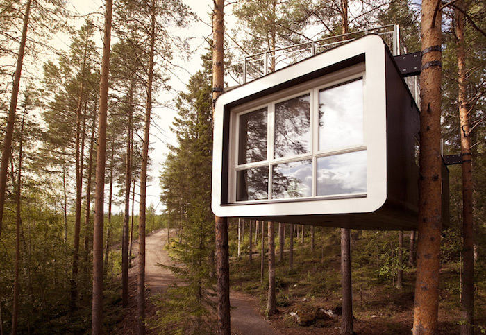 modern black and white cube-shaped structure, with several windows, suspended over the ground from several trees, cool tree houses, inside a fir forest