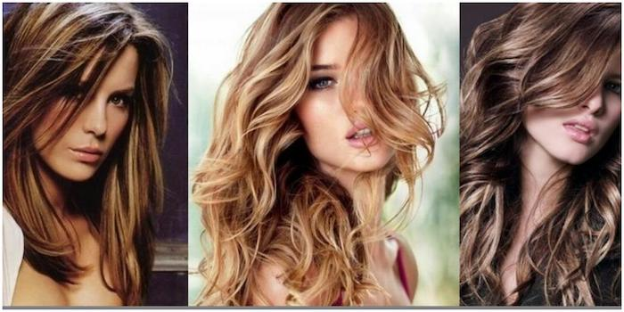 smooth and straight, curled and messy wavy, three different hairstyles, with highlights, worn by young women, with brunette and blonde, and chocolate brown hair