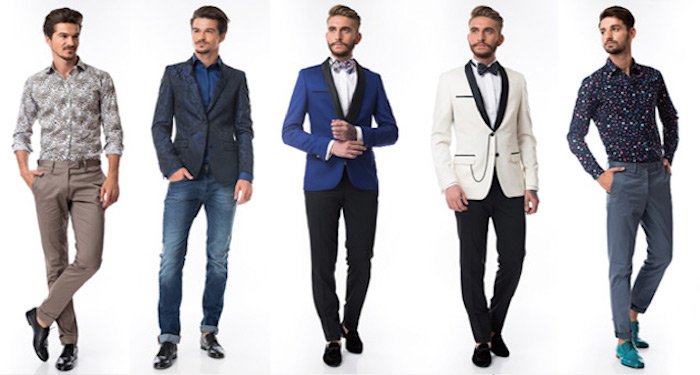 smart suits and casual shirt and trousers combinations, beige outfit with black shoes, jeans and a blazer, blue and white smocking jackets