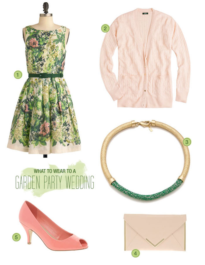 outfit for a dressy casual garden wedding, sleeveless dress with green, and pale pink floral pattern, powder pink cardigan, coral pink peep toe shoes, envelope clutch bag, gold and green chunky necklace