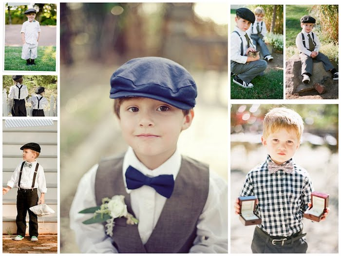 ring bearer outfit ideas, for small boys and toddlers, trousers white shirt and suspenders, bowties and a vest, vintage grey berets