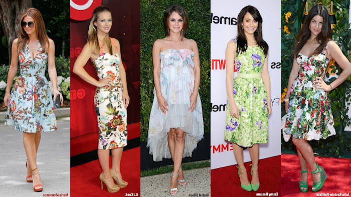 famous women wearing floral dresses, semi formal attire, pale blue and green, strapless and sleeveless styles, worn with high heels