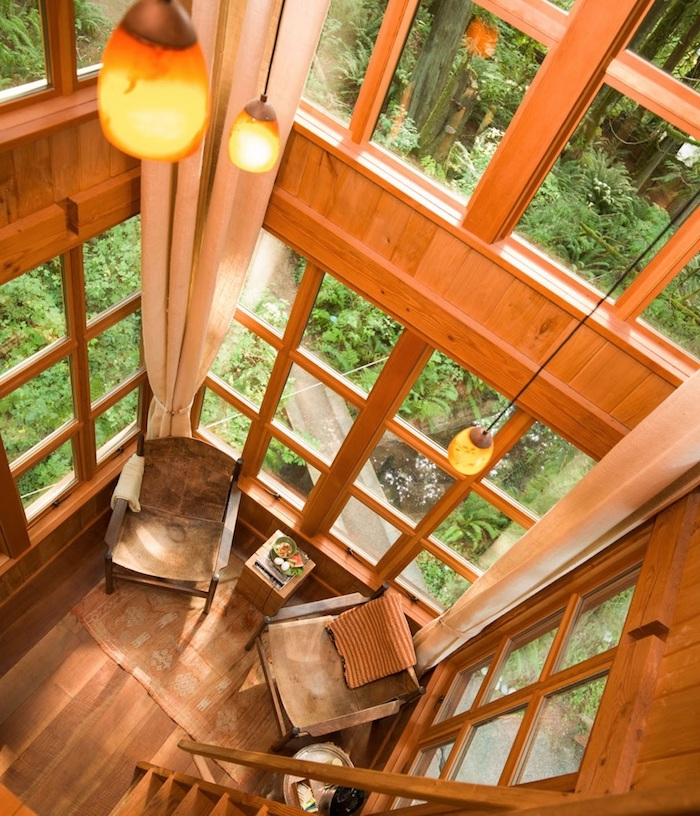 interior of a tree house, wood paneling on the walls, several large windows, high ceiling with three hanging lights, treehouse ideas