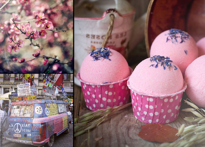 cherry blossoms and a hippie van, what is a bath bomb, several pink bath bombs, decorated with dried lavender petals, and placed in cupcake holders