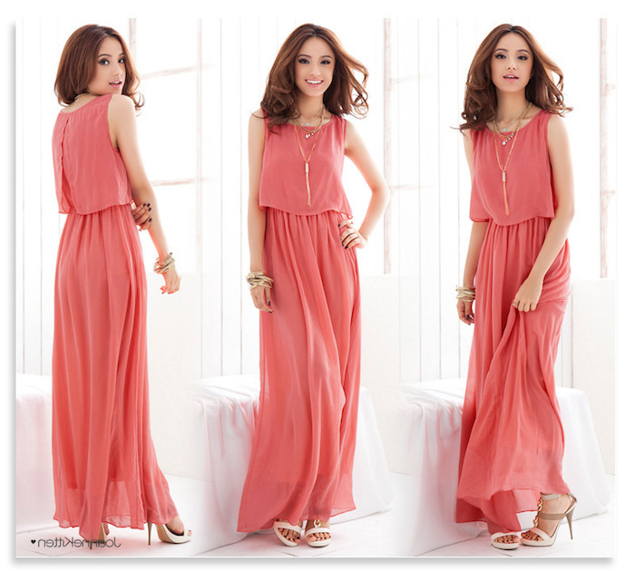 floaty maxi dress, in vibrant coral pink, worn by smiling brunette woman, with white and beige high heel sandals, and two necklaces, what is semi formal