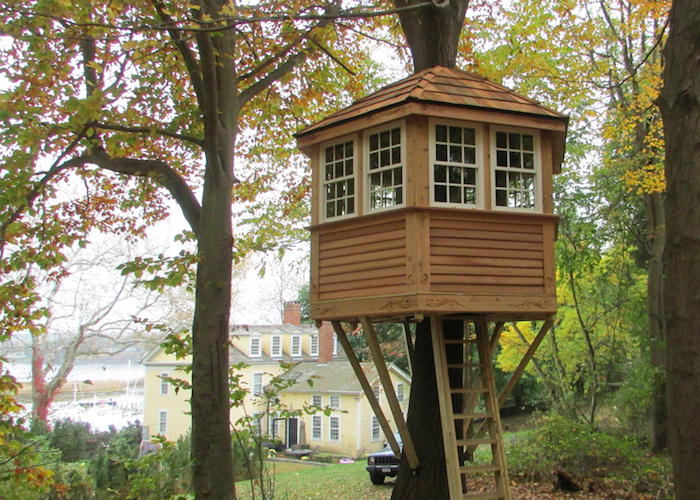 tiny cube-shaped backyard treehouse, with several windows, and wooden paneling, suspended above the ground, and accessible through a wooden ladder