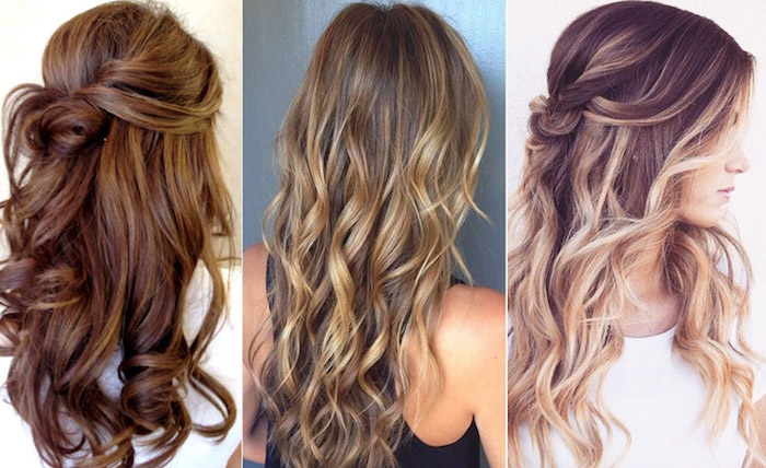 deep chocolate brown hair, with curls and twists, dark blonde long hair with loose curls, and light blonde highlights, brunette hair with light blonde balayage