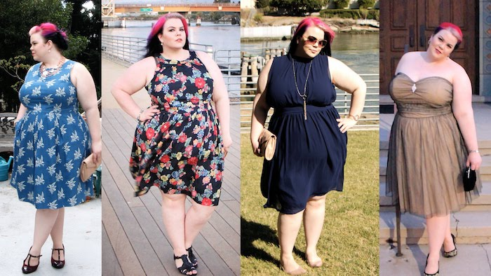 dyed pink hair, on a curvy woman, in four different outfits, what is semi formal, blue floral dress, multicolored dress with flower print, dark navy sleeveless dress, brown tulle strapless gown
