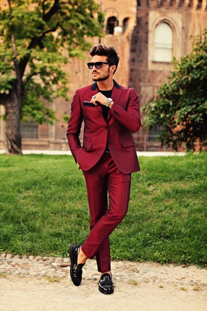 burgundy red two piece suit, worn by young man with sunglasses, black tie optional wedding, black t-shirt and black patent loafers, worn on bare feet