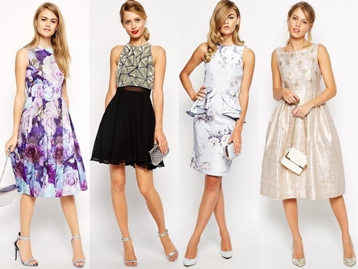 special occasion or smart everyday dresses, purple floral midi, black and silver mini, pale blue pencil knee-length dress, shimmering metallic beige dress