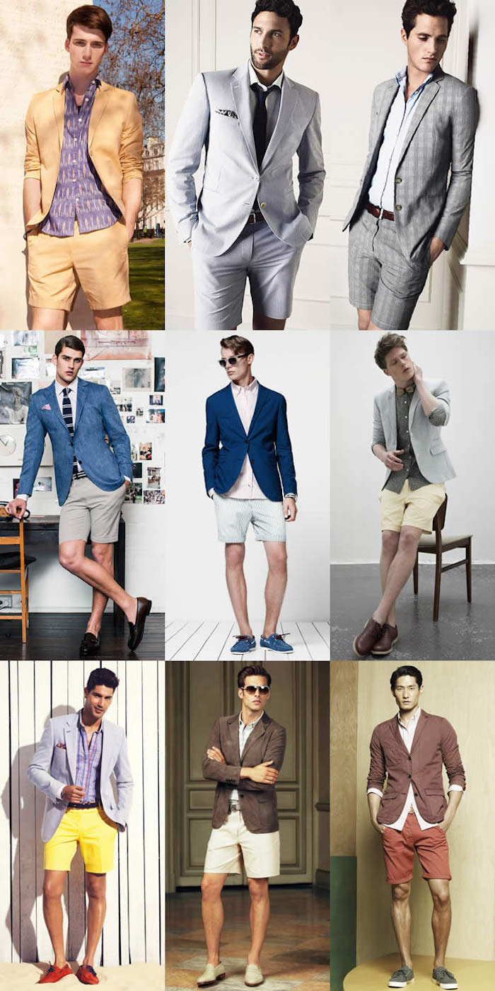 shorts in different colors, beige or grey, pale blue or yellow, red or white, worn with shirts and blazers, what is semi formal attire, by nine brunette men