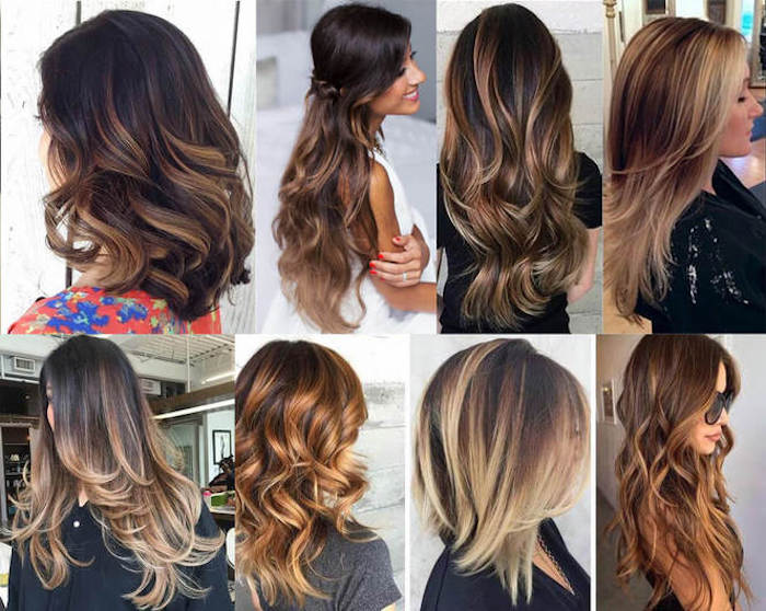 variations of caramel highlights, on medium length wavy hair, on long curled hair, on layered hairstyles, dark and light brunette and blonde tones