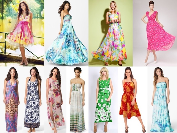 variety of multicolored summer dresses, worn by eleven women, what is semi formal, yellow and pink knee-length dress, floral blue gown, halter-necks and strapless dresses