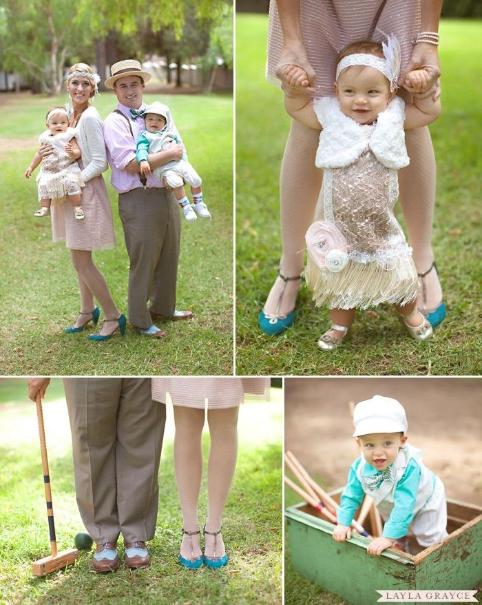flapper style vintage outfits, on a family with two toddlers, what is semi formal, woman in knee length pale pink dress, man in beige trousers with suspenders, pink shirt and straw hat