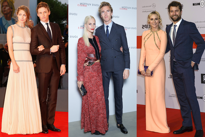 celebrity pairs wearing smart clothing, maxi dresses and dark suits, with white shirts and grey neckties, semi formal dress code