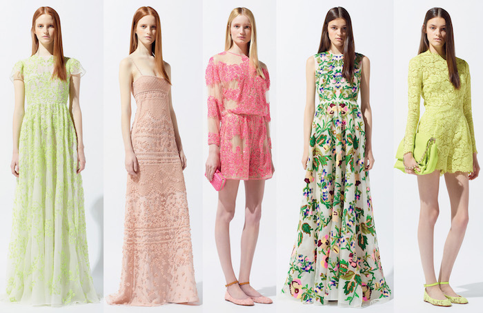 lime green lace jumpsuit, long botanical gown, hot pink and beige lace jumpsuit, two maxi dresses with lace, in pale green and pink, what is semi formal, worn by slim young women