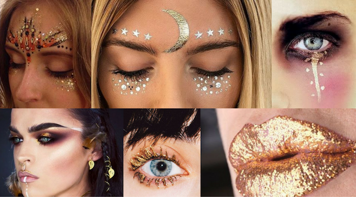 moons and stars, painted on women's faces, with golden body glitter, shimmering golden mascara and lipstick, dark eye make up, and 3D decal stickers