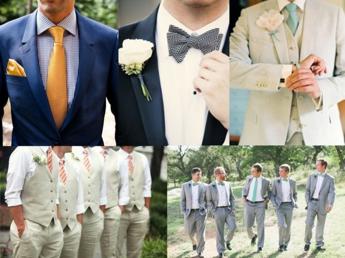 collage of five images, showing details of mens wedding guest attire, yellow tie and matching pocket handkerchief, bowties and boutonnieres, suits in different colors