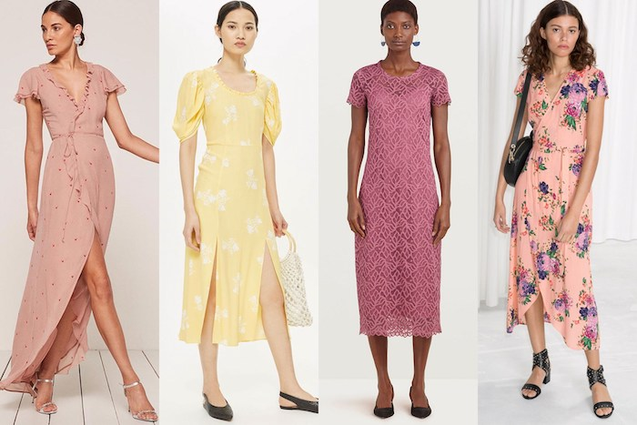 long summer dresses, pink wrap dress, pale yellow dress with slits, dark pink lace gown, light pink wrap dress with floral pattern, casual dress code