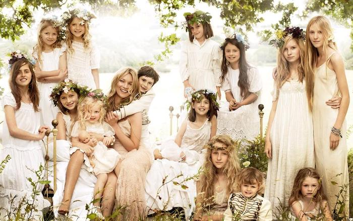 boho clothes in white, worn by fourteen kids of different ages, posing with kate moss, casual dress code, maxi dresses and drummer boy uniforms