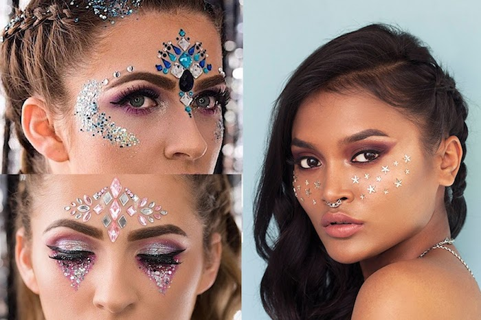 tiara-like forehead decorations, made from pale pink, blue and silver gem stickers, in different shapes, body glitter and silver star stickers