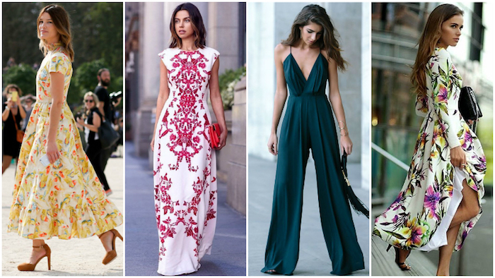 models wearing maxi dresses, in white and yellow, white and red, and in a multicolored pattern, floral and folk motifs, dark green jumpsuit, what is semi formal attire