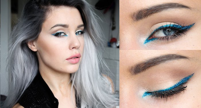 ombre silver and grey hair, on young woman, with pink matte lipstick, and glittering teal eyeliner, make up ideas, discrete blush on her cheekbones