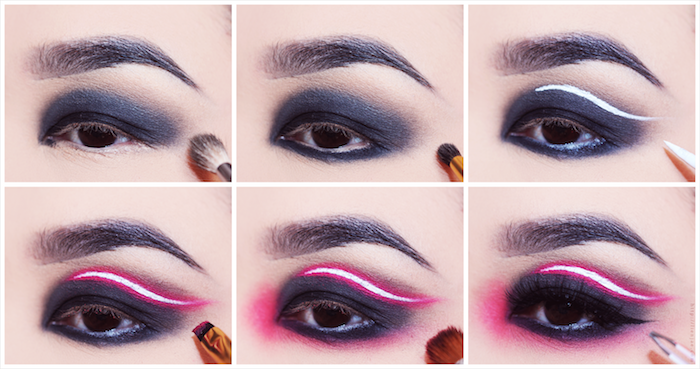 six photos explaining the process, of creating black eyeshadow, with pink neon-effect streak, black eyeliner with white and purple paint