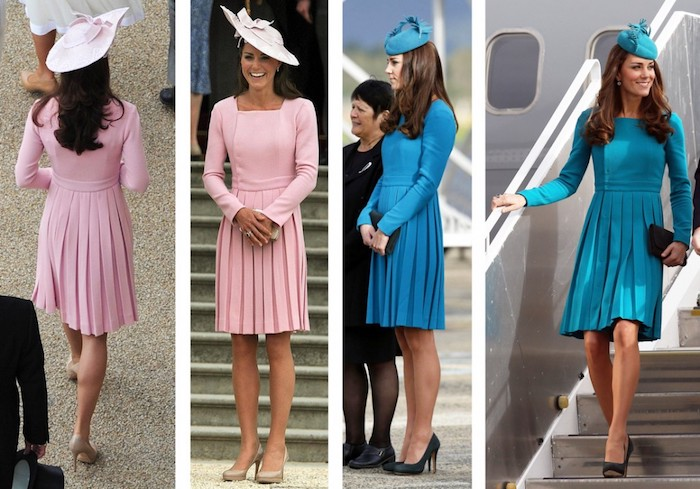 duchess of cambridge, or kate middleton, wearing two identical smart dresses, in pink and blue, long sleeves and pleated skirts, what is semi formal, matching fancy hats