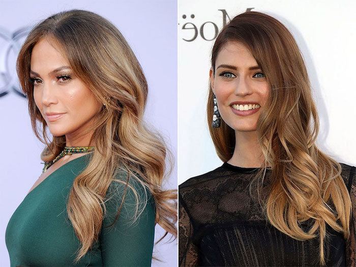 mocha colored hair, with dark blonde balayage and highlights, worn by jennifer lopez and another female celebrity, chocolate brown hair