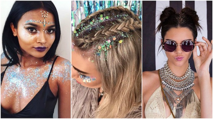 braided hair and hair buns, lots of body glitter, chunky silver necklaces, round sunglasses and boho clothes, face paint and decal stickers, worn by three different young women