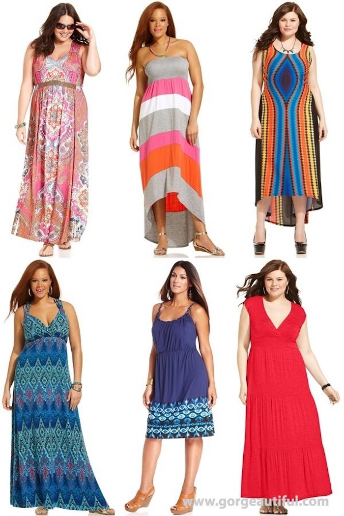 curvy brunette ladies, wearing different summer dresses, striped and patterned multicolored maxi dresses, long red gown, knee-length blue dress, with patterned hem