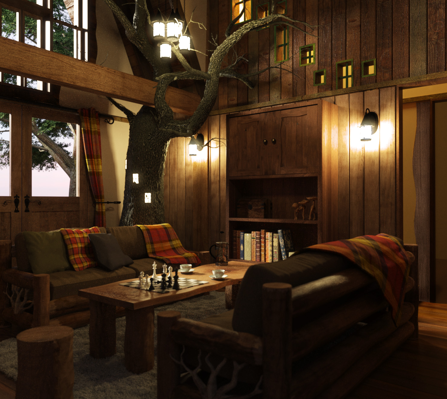 dark tree house interior, with a living tree, wooden paneling and two brown sofas, a rough wooden table and stool