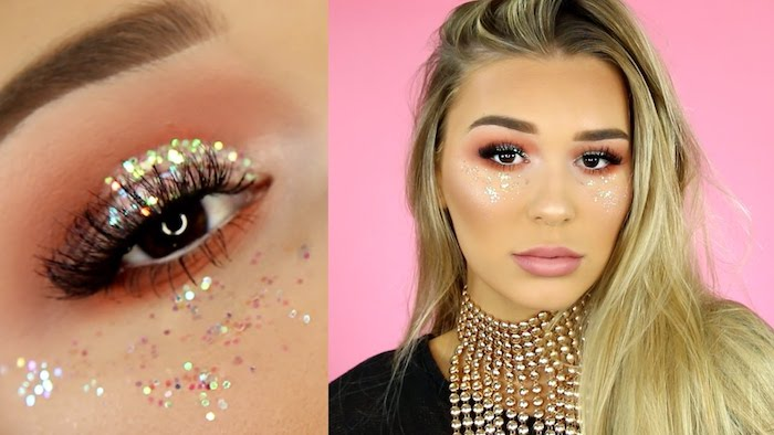 body glitter in iridescent pink, worn by blonde woman, with orange eyeshadow, and matte pink lipstick, fake eyelashes and large, chunky golden necklace