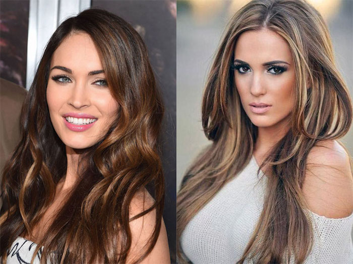 smiling megan fox, with chocolate brown hair, long and wavy, with dark blonde highlights, next image shows young woman, with long layered brunette hair, with blonde streaks
