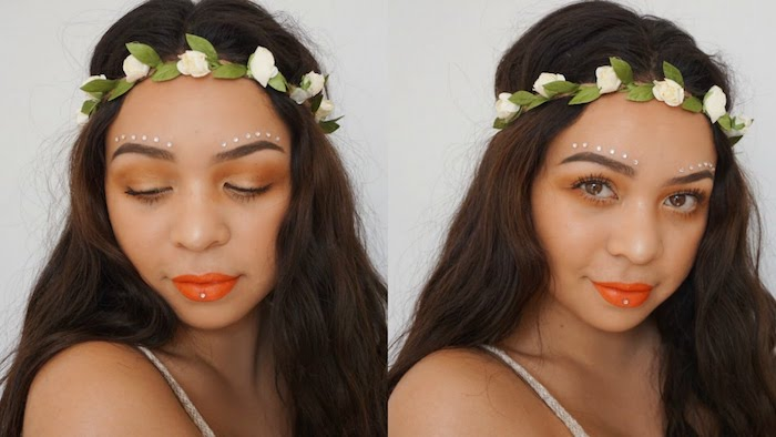 crown made of artificial white flowers, on dark brown long wavy hair, young woman with orange lipstick, pale brown eyeshadow, white face paint, and one small pearl sticker on her lips, cute makeup looks