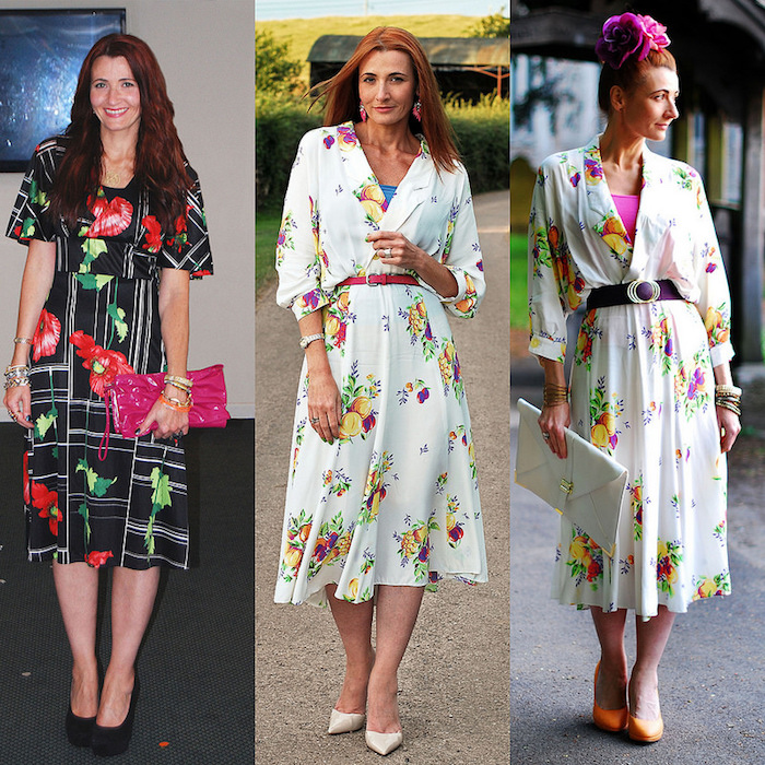 outfit ideas for a smart-casual wedding, semi formal dress code, woman in black dress, with floral pattern, wearing white dress with different accessories, garden party dress ideas