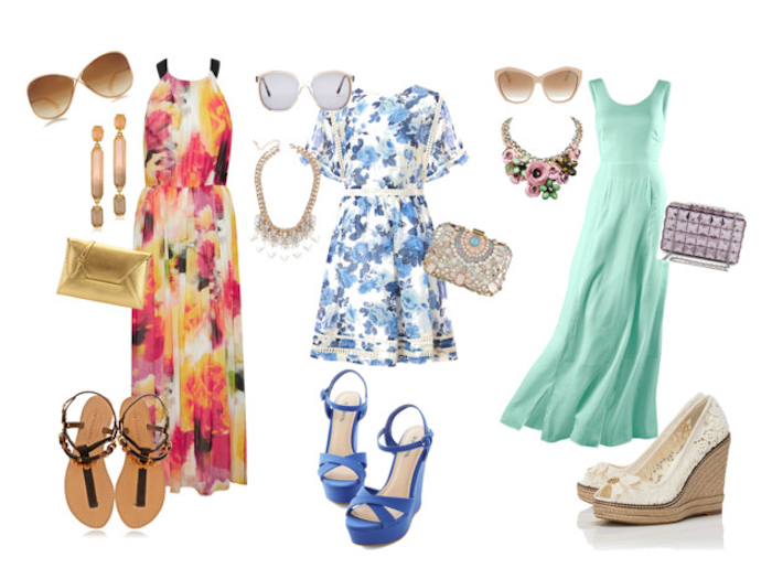 sandals and floral maxi dress in red, orange and yellow hues, blue and white mini dress, pale turquoise gown, casual dress code, high heels and purses, sunglasses and necklces