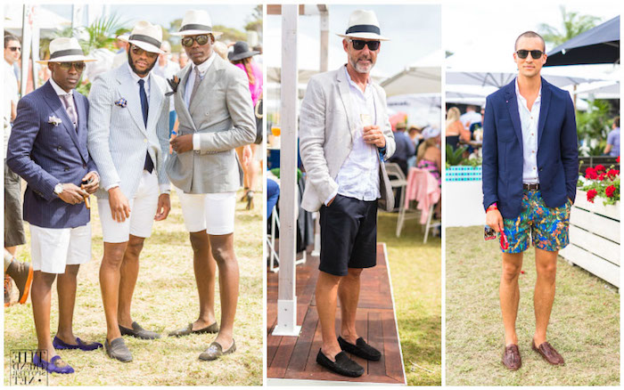 several men of different ages wearing semi formal attire with shorts in black - Garden Party Attire
